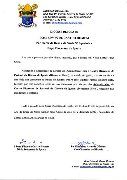 Dom Edson cria o Conselho de Assuntos Econômicos Diocesano – CAED e nomeia o novo Ecônomo da Diocese.