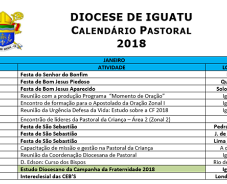 Calendario Pastoral da Diocese 2018 disponível para consulta e download