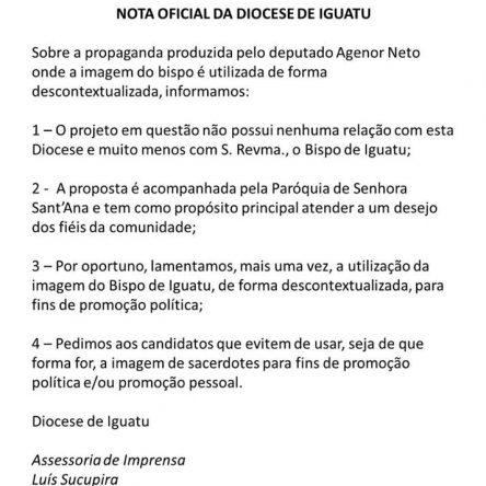 NOTA OFICIAL DA DIOCESE DE IGUATU