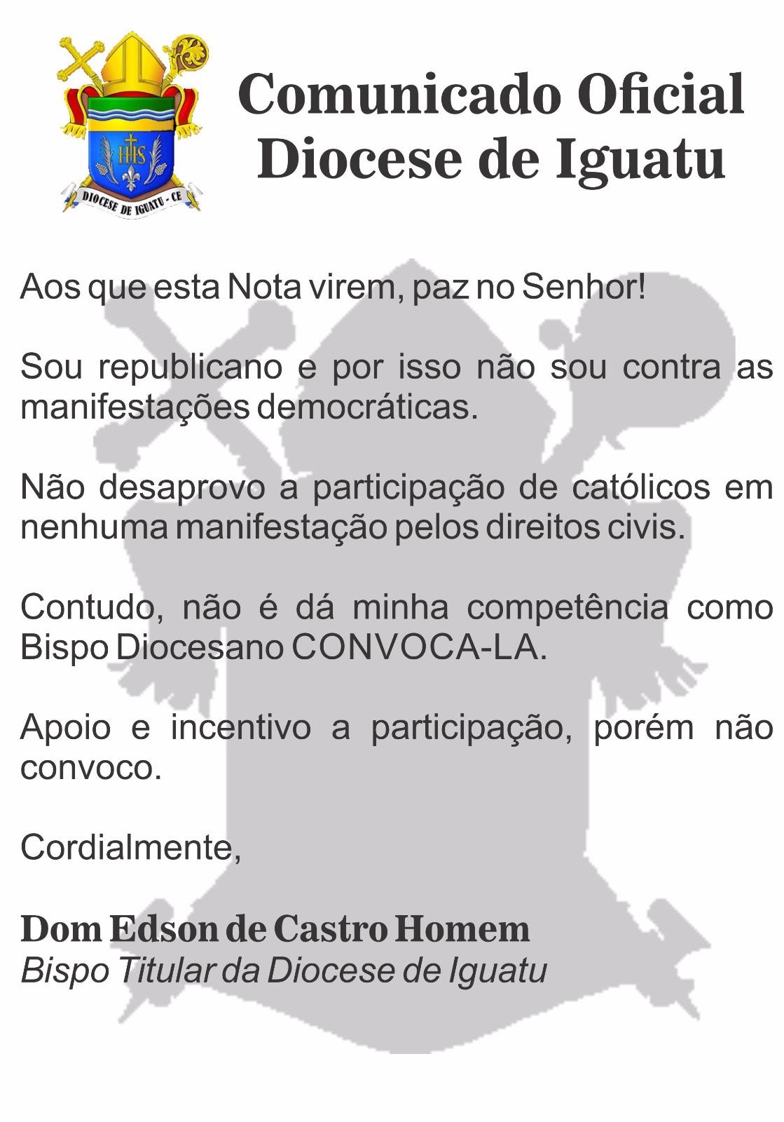 Comunicado Oficial da Diocese de Iguatu
