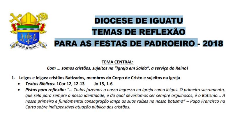 TEMAS DE REFLEXÃO PARA AS FESTAS DE PADROEIRO – 2018 – Disponível para download